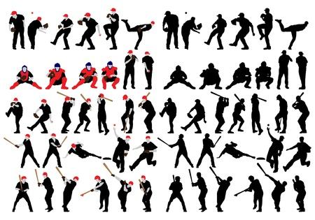 Set  of detail baseball athlete silhouettes. Fully editable EPS 10 vector illustration.