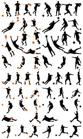 Set of detail soccer silhouettes. Fully editable  illustration.
