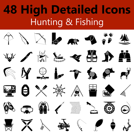 Set of High Detailed Hunting and Fishing Smooth Icons in Black Colorsのイラスト素材