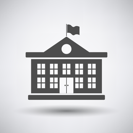 Illustration pour School building icon on gray background with round shadow. - image libre de droit