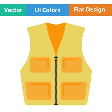Flat design icon of hunter vest in ui colors. Vector illustration.