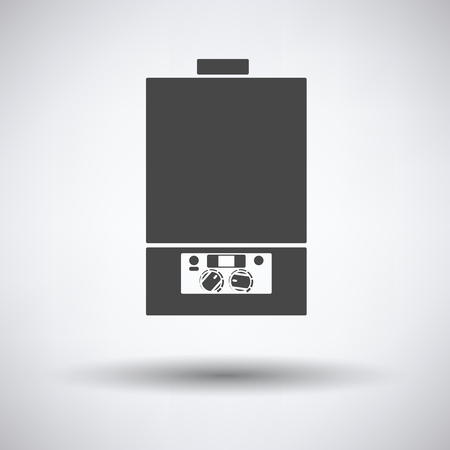 Gas boiler icon on gray background, round shadow. Vector illustration.
