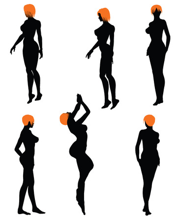girls silhouette set. Very smooth and detailed with color hairstyle. Vector illustration.のイラスト素材