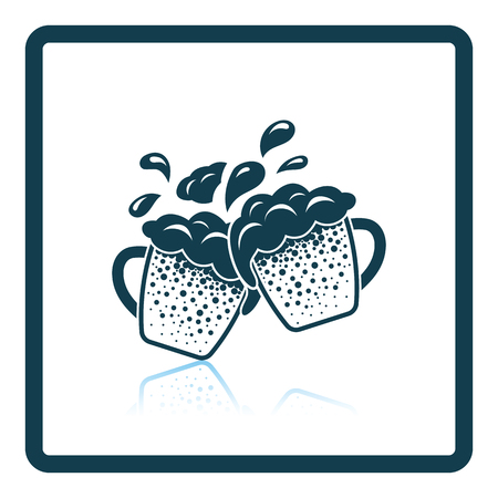 Two clinking beer mugs with fly off foam icon. Shadow reflection design. Vector illustration.