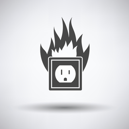 Electric outlet fire icon on gray background with round shadow. Vector illustration.