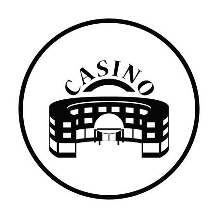 Casino building icon. Thin circle design. Vector illustration.