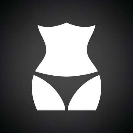 Slim waist icon. Black background with white. Vector illustration.