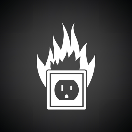 Electric outlet fire icon. Black background with white. Vector illustration.