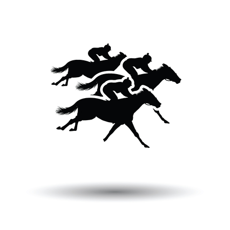 horse racing icon. White background with shadow design. Vector illustration.