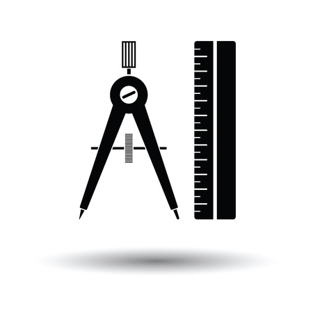 Compasses and scale icon. White background with shadow design. Vector illustration.