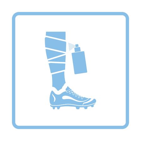 Soccer bandaged leg with aerosol anesthetic icon. Blue frame design. Vector illustration.