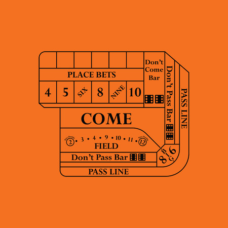 Craps table icon. Orange background with black. Vector illustration.