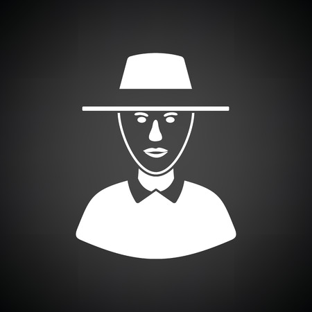 Cricket umpire icon. Black background with white. Vector illustration.