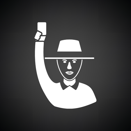 Cricket umpire with hand holding card icon. Black background with white. Vector illustration.