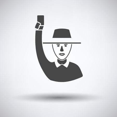 Cricket umpire with hand holding card icon on gray background, round shadow. Vector illustration.