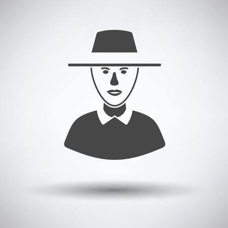 Cricket umpire icon on gray background, round shadow. Vector illustration.