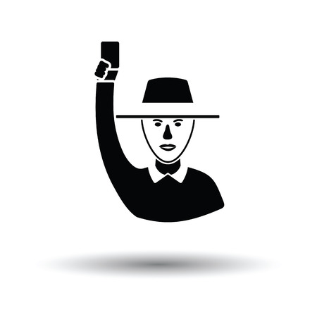 Cricket umpire with hand holding card icon. White background with shadow design. Vector illustration.