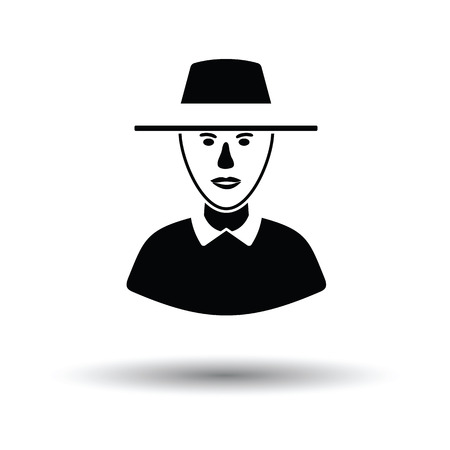 Cricket umpire icon. White background with shadow design. Vector illustration.