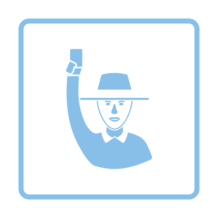 Cricket umpire with hand holding card icon. Blue frame design. Vector illustration.