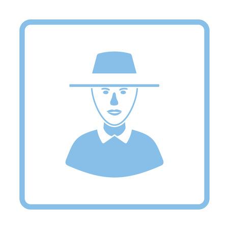 Cricket umpire icon. Blue frame design. Vector illustration.