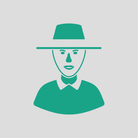 Cricket umpire icon. Gray background with green. Vector illustration.