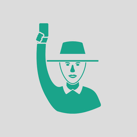 Cricket umpire with hand holding card icon. Gray background with green. Vector illustration.