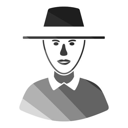 Cricket umpire icon. Flat color design. Vector illustration.