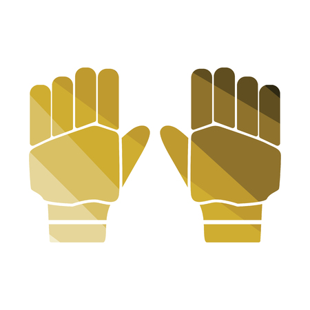 Pair of cricket gloves icon. Flat color design. Vector illustration.