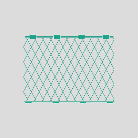 Ilustración de Icon of Fishing net . Gray background with green. Vector illustration. - Imagen libre de derechos