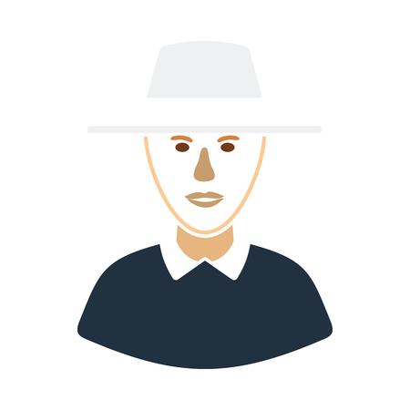 Cricket umpire icon. Flat color stencil design. Vector illustration.