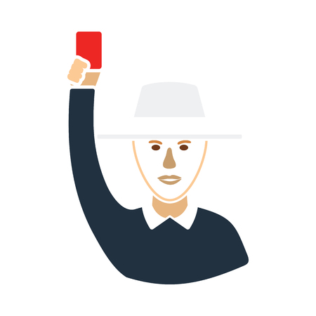 Cricket umpire with hand holding card icon. Flat color stencil design. Vector illustration.