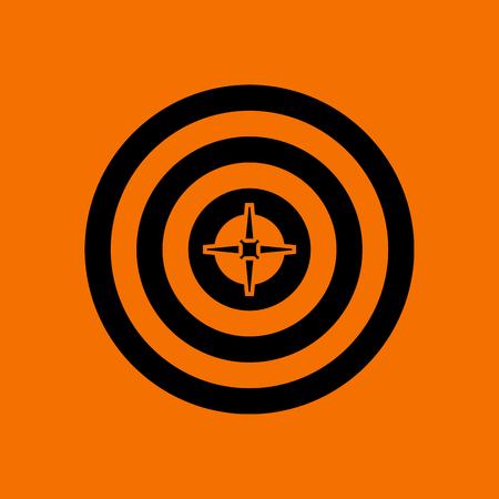 Illustration pour Target With Dart In Center Icon. Black on Orange Background. Vector Illustration. - image libre de droit