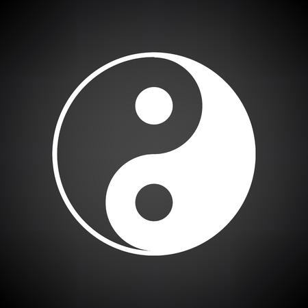 Illustration pour Yin And Yang Icon. White on Black Background. Vector Illustration. - image libre de droit