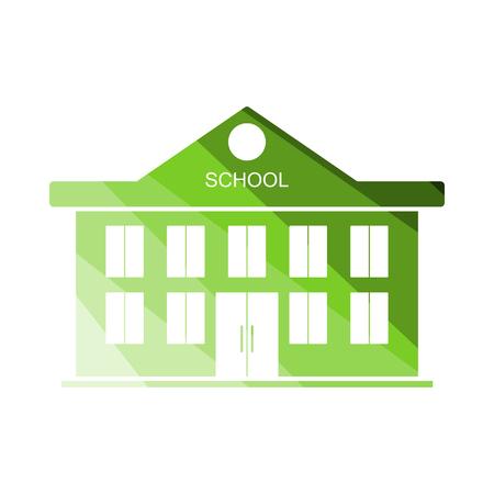 Illustration pour School Building Icon. Flat Color Ladder Design. - image libre de droit