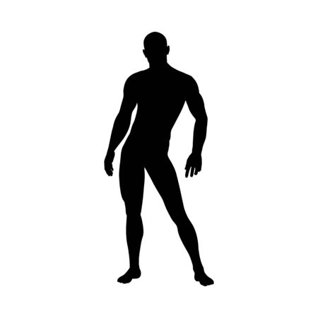 Illustration pour Standing Pose Man Silhouette. Very smooth and detailed. Vector illustration. - image libre de droit