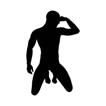 Illustration pour Sitting Pose Man Silhouette. Very smooth and detailed. Vector illustration. - image libre de droit