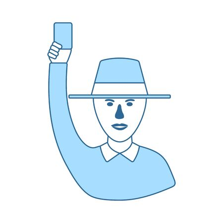 Cricket Umpire With Hand Holding Card Icon. Thin Line With Blue Fill Design. Vector Illustration.