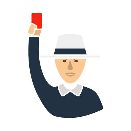 Cricket Umpire With Hand Holding Card Icon. Flat Color Design. Vector Illustration.