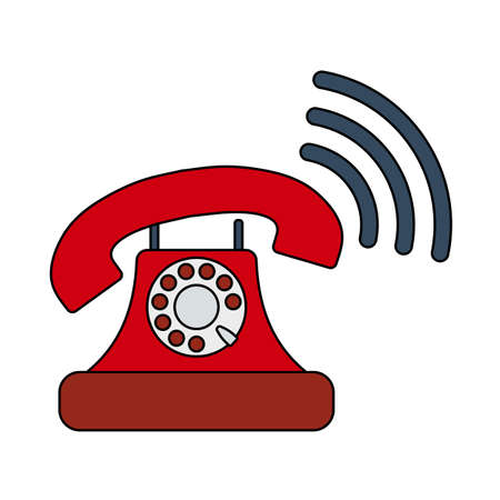 Illustration for Old Telephone Icon. Editable Outline With Color Fill Design. - Royalty Free Image