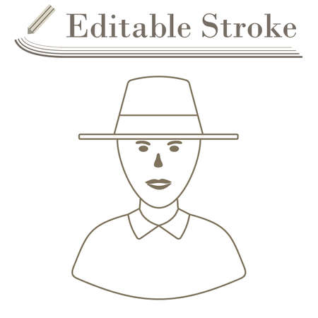 Cricket Umpire Icon. Editable Stroke Simple Design. Vector Illustration.