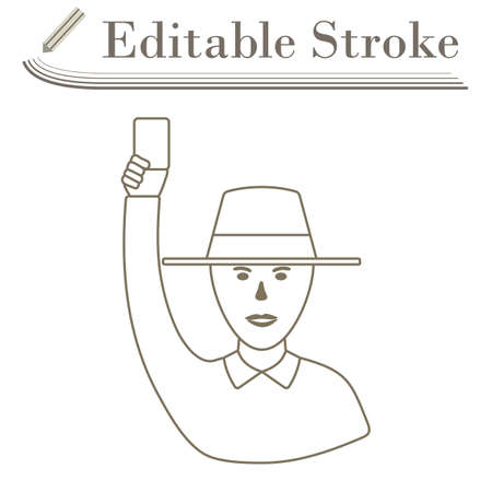 Cricket Umpire With Hand Holding Card Icon. Editable Stroke Simple Design. Vector Illustration.