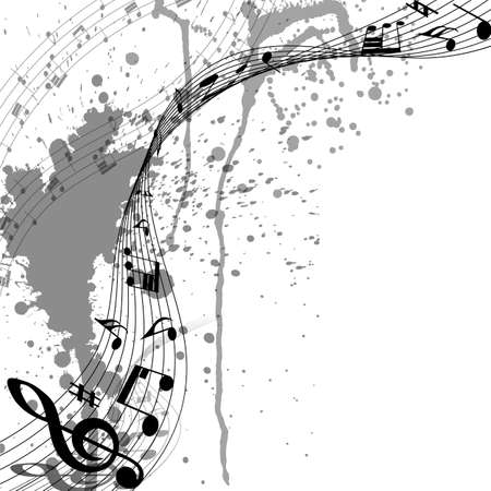 Illustration pour Musical Design From Music Staff Elements With Treble Clef And Notes On Trasparent Grunge Background With Copy Space. Shadow With Transparency; Elegant Creative Design Isolated on White. Vector Illustration. - image libre de droit