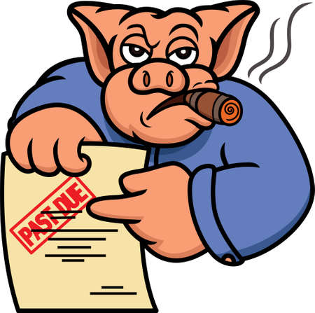 Ilustración de Pig Debt Collector or Creditor with Past Due Statement Cartoon Illustration - Imagen libre de derechos