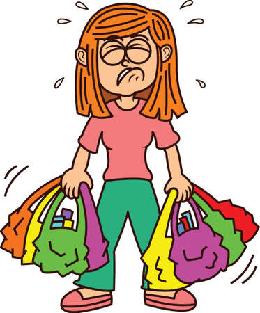 Illustration for Girl Carrying Heavy Shopping Bags - Royalty Free Image