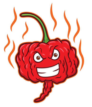 Illustration pour Carolina Reaper Hottest Chili Pepper Cartoon - image libre de droit