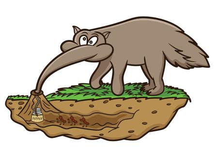 Illustration pour Anteater Looking for Ants Cartoon Illustration - image libre de droit
