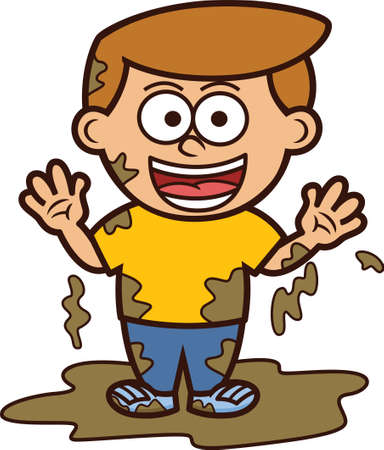 Illustration for Little Boy Playing in Dirty Mud Cartoon Illustration - Royalty Free Image