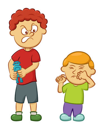 Illustration pour Big Naughty Boy Taking Toy Away From Little Boy Cartoon Illustration Isolated on White Background - image libre de droit