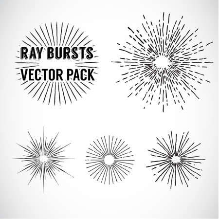 Line Ray Burst. vintage style - vector set - vector illustration
