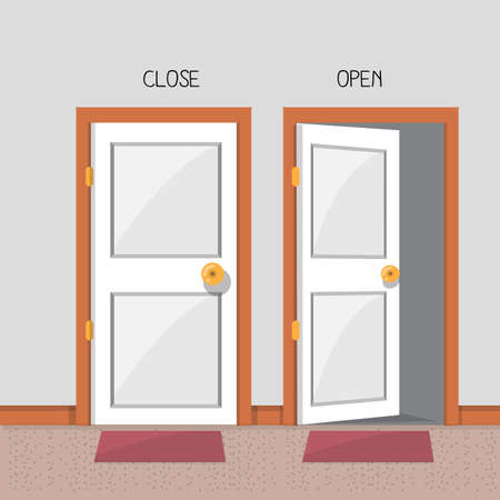 close and open door - vector illustration